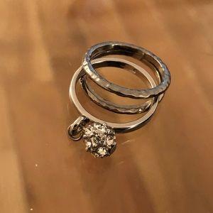 Triple Ring Set with Diamond Drop Detail